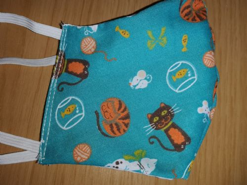 Handmade Breathable Eco Friendly Cotton Face Mask blue cat print Adjustable Ribbon Ties Or Elastic